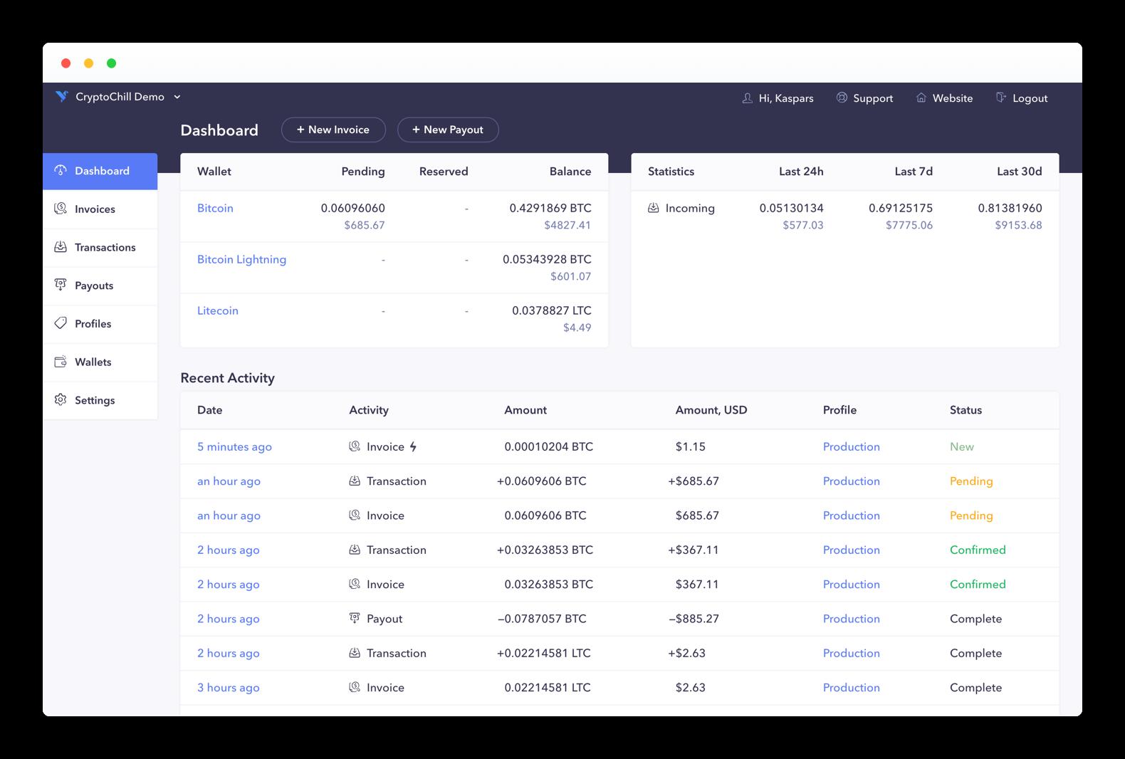 CryptoChill Payment Gateway - Dashboard